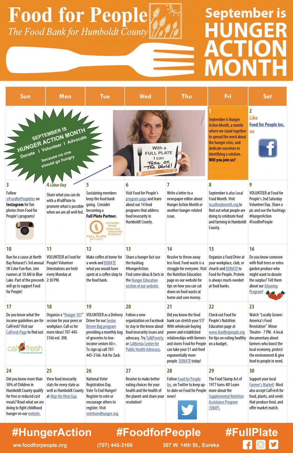 "Hunger Action Month 2016 ""30 Ways in 30 Days"" Calendar"